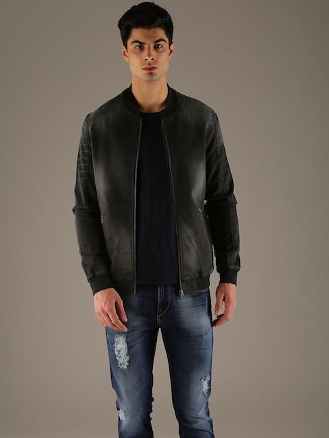 Flying Machine Men Black Solid Denim Jacket