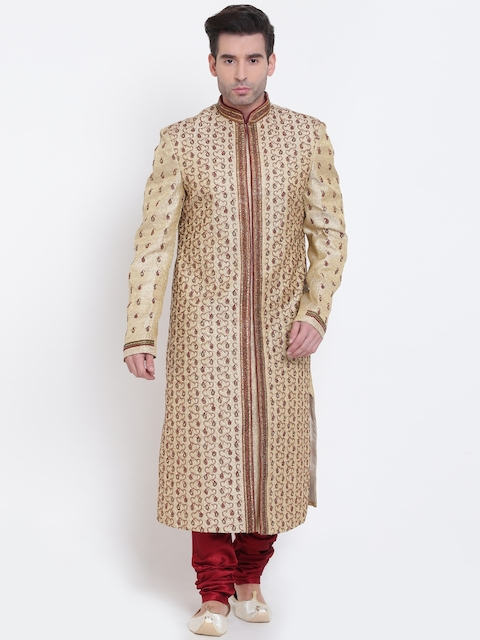 Manish Creations Beige & Red Embellished Silk Sherwani