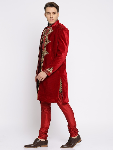 Manish Creations Maroon & Green Patterned Embellished Layered Sherwani with Churidar