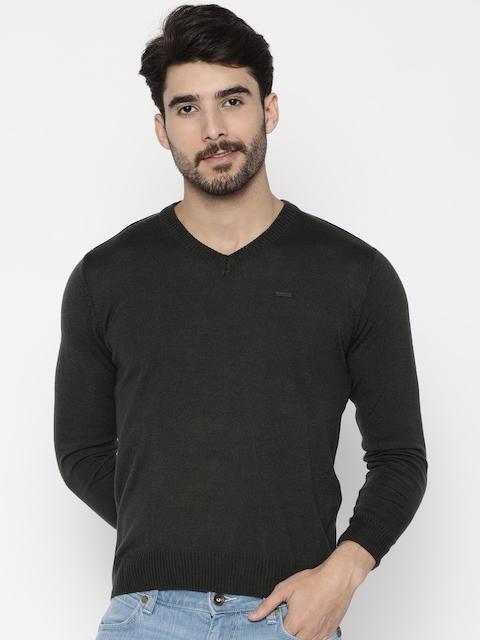 Wrangler Men Charcoal Grey Solid Pullover