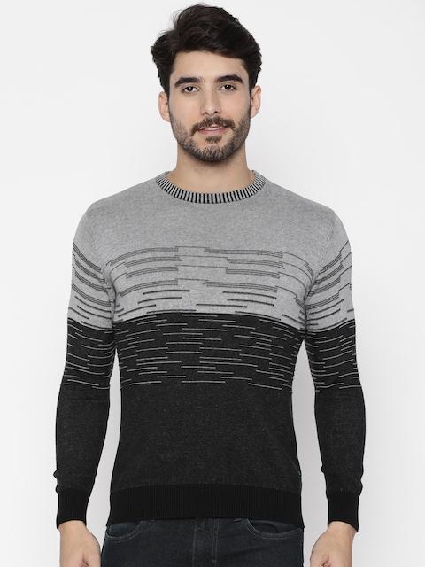 Wrangler Men Black & Grey Striped Pullover