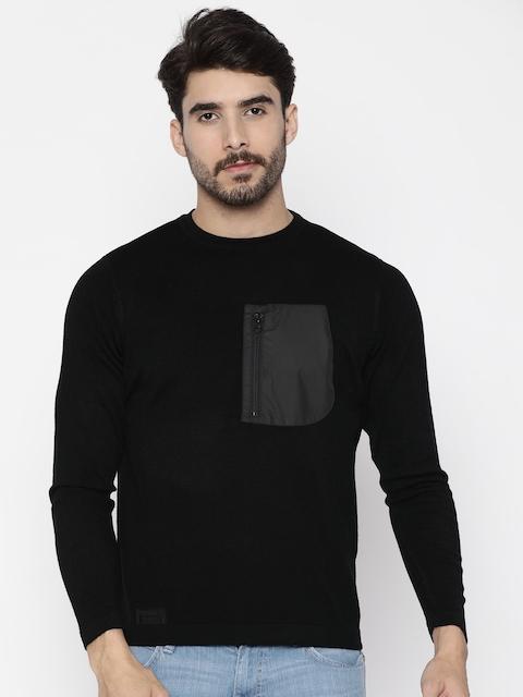 Wrangler Men Black Solid Pullover