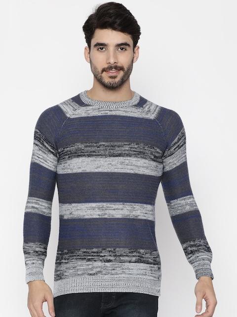 Wrangler Men Grey & Blue Striped Pullover