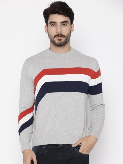 Wrangler Men Grey Striped Pullover