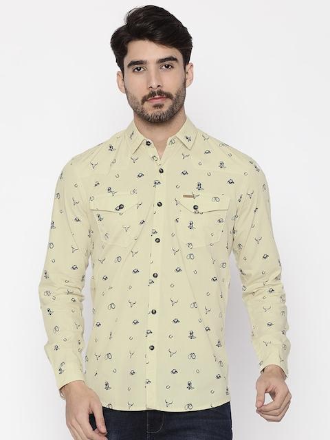 Wrangler Men Beige Slim Fit Printed Casual Shirt