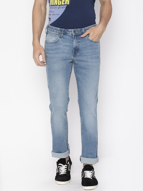 Wrangler Men Blue Millard Tapered Fit Low-Rise Clean Look Stretchable Jeans