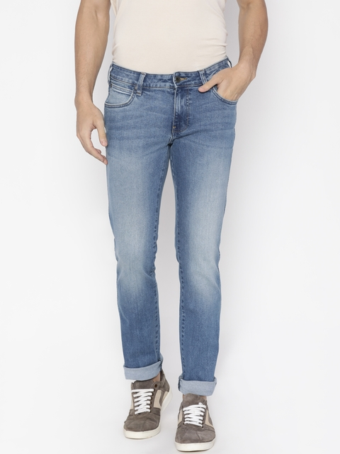 Wrangler Men Blue Slim Fit Low-Rise Clean Look Stretchable Jeans