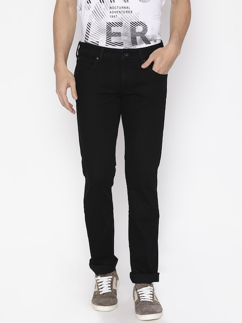 Wrangler Men Black Tapered Fit Low-Rise Clean Look Stretchable Jeans