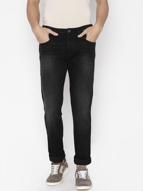 Wrangler Men Black Regular Fit Mid-Rise Clean Look Stretchable Jeans