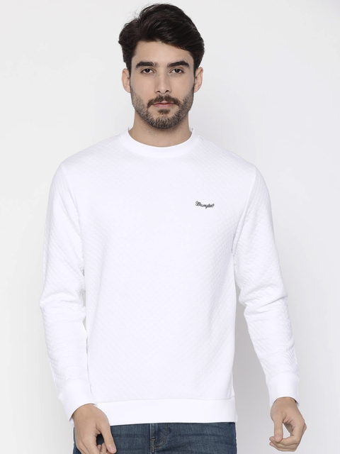 Wrangler Men White Solid Sweatshirt
