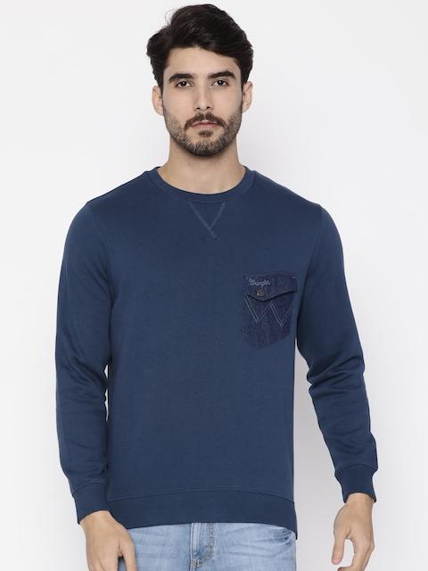 Wrangler Men Blue Solid Sweatshirt