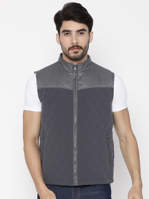 Wrangler Men Grey Solid Quilted Jacket  available at myntra for Rs.2796