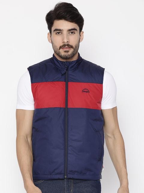 Wrangler Men Navy Blue & Red Colourblocked Padded Jacket