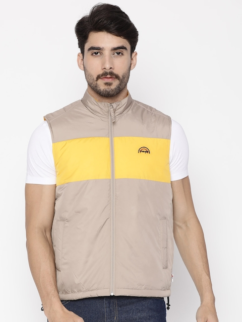 Wrangler Men Beige & Yellow Colourblocked Padded Jacket  available at myntra for Rs.2236