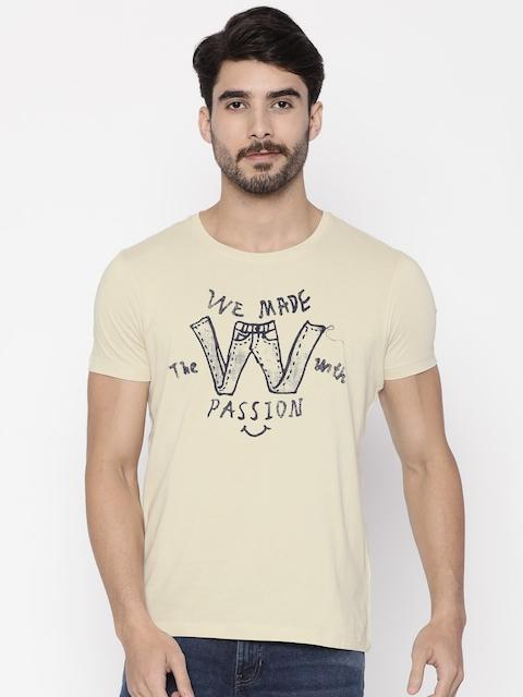 Wrangler Men Beige Printed Round Neck T-Shirt