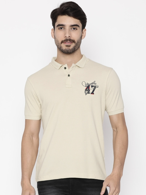Wrangler Men Beige Solid Polo T-Shirt