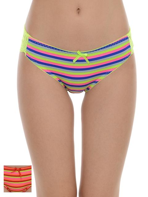 Da Intimo Women Pack of 2 Striped Bikini Briefs DIU-233