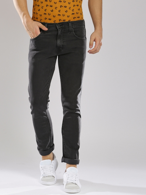 Levis Men Black Regular Fit Mid-Rise Clean Look Stretchable Jeans