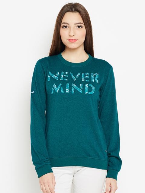 Monte Carlo Women Green Printed Sweatshirt