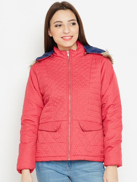 Monte Carlo Women Pink Printed Parka Jacket with Detachable Hood