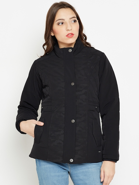 Monte Carlo Women Black Solid Quilted Jacket