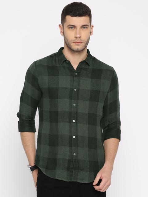 Levis Men Black & Green Regular Fit Checked Casual Linen Shirt