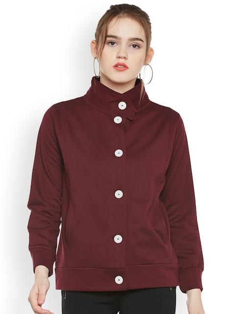 The Vanca Women Maroon Solid Tailored Jacket
