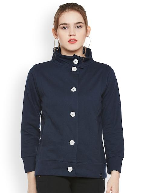 The Vanca Women Navy Blue Solid Tailored Jacket