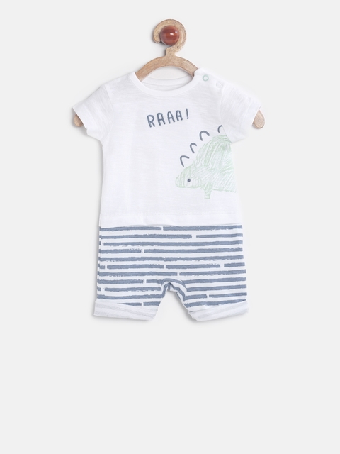 mothercare Boys White Printed Rompers