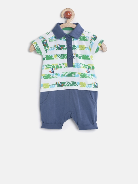 mothercare Boys White & Blue Printed Rompers