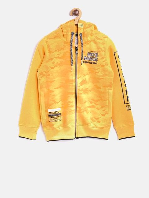 Tweens by Monte Carlo Boys Yellow Camouflage Print Hooded Sweatshirt
