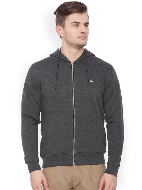 Proline Men Grey Solid Hooded Sweatshirt