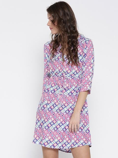 Sera Women Pink & Blue Printed Shift Dress