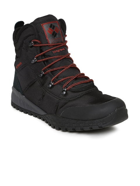 Columbia Men Black Fairbanks Omni-Heat Flat Boots