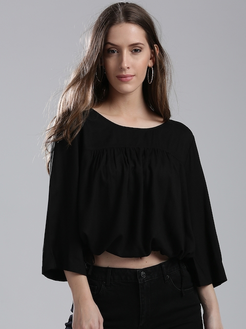 Levis Women Black Solid Crop Blouson Top