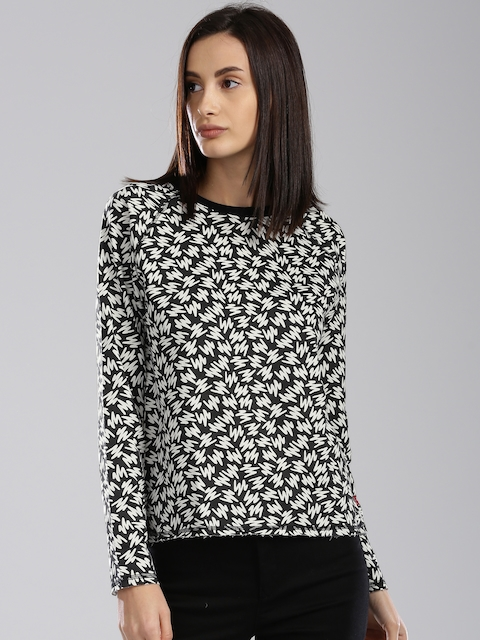 Levis Women Black & White Printed Sweatshirt