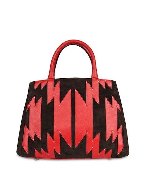 Da Milano Red & Black Self Design Handheld Bag