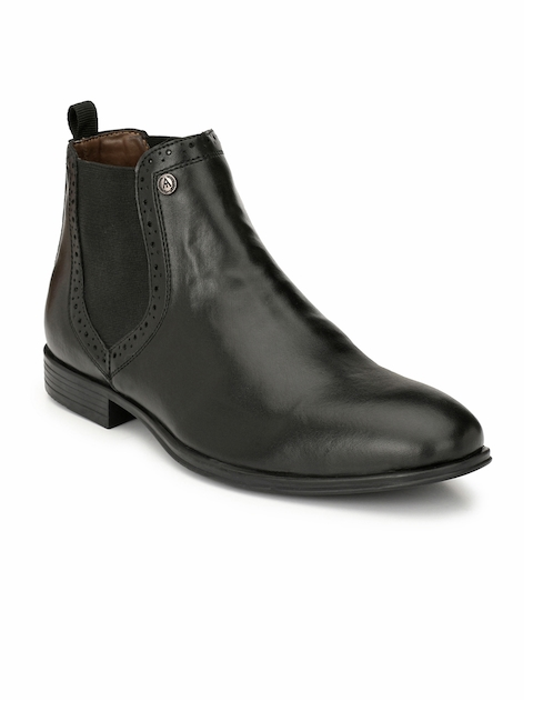Alberto Torresi Men Black Solid Synthetic Leather Mid-Top Flat Boots
