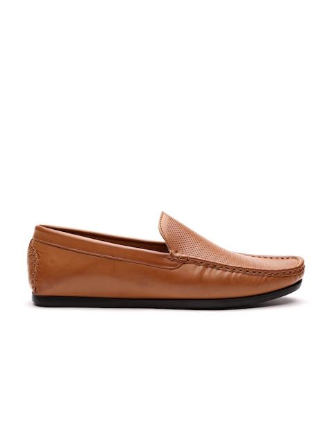 Carlton London Men Tan Brown Textured Loafers