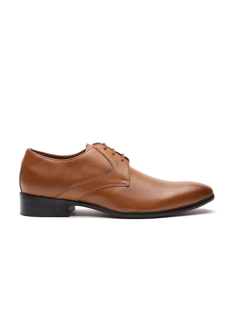 Carlton London Men Tan Brown Leather Formal Derbys