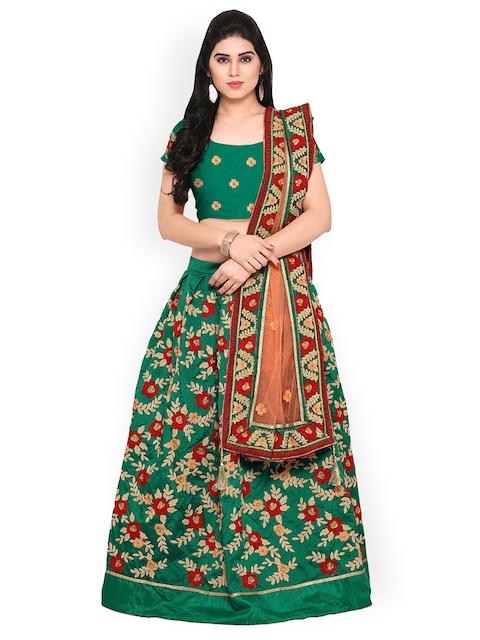 Styles Closet Green & Orange Taffeta Silk Embroidered Lehenga Choli
