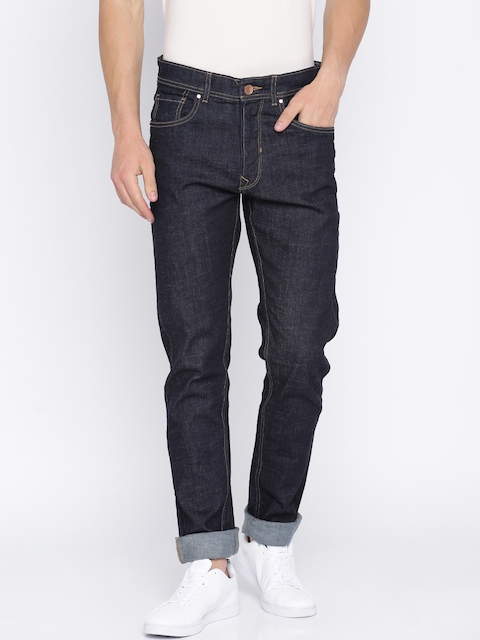 Peter England Casuals Men Blue Tapered Fit Low-Rise Mildly Distressed Stretchable Jeans