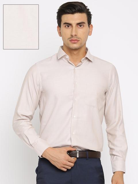Peter England Men Beige Nuvo Fit Self Design Formal Shirt