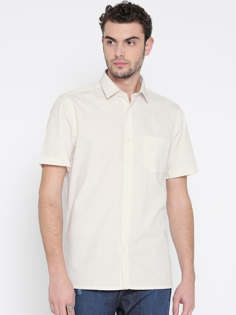 Peter England Men Beige & Off-White Printed Casual Shirt