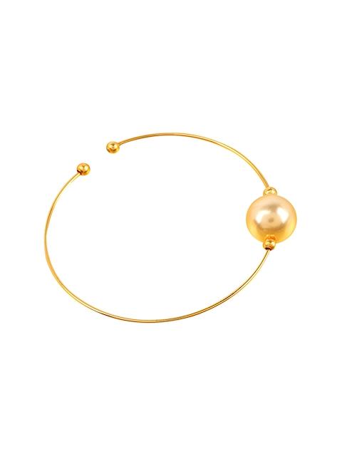 Yosshita & Neha Gold-Toned & White Pearl Nose Ring