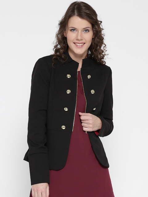Vero Moda Women Black Solid Tailored Jacket