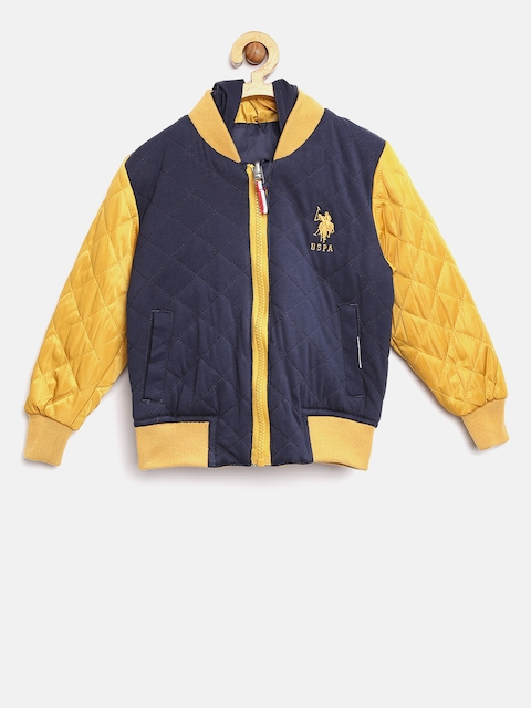 U.S. Polo Assn. Kids Boys Navy & Mustard Yellow Reversible Bomber Jacket