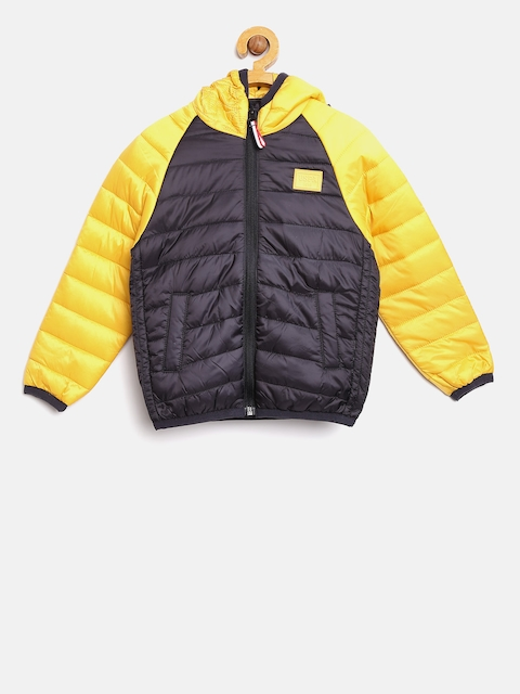 U.S. Polo Assn. Kids Boys Navy & Yellow Colourblocked Puffer Jacket