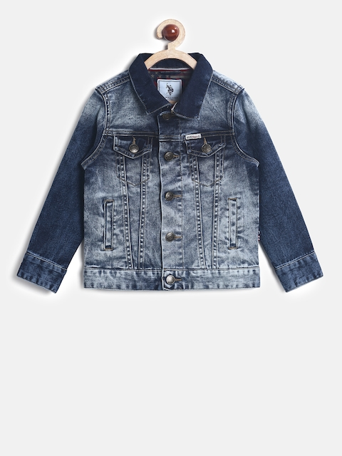 U.S. Polo Assn. Kids Boys Blue Solid Denim Jacket
