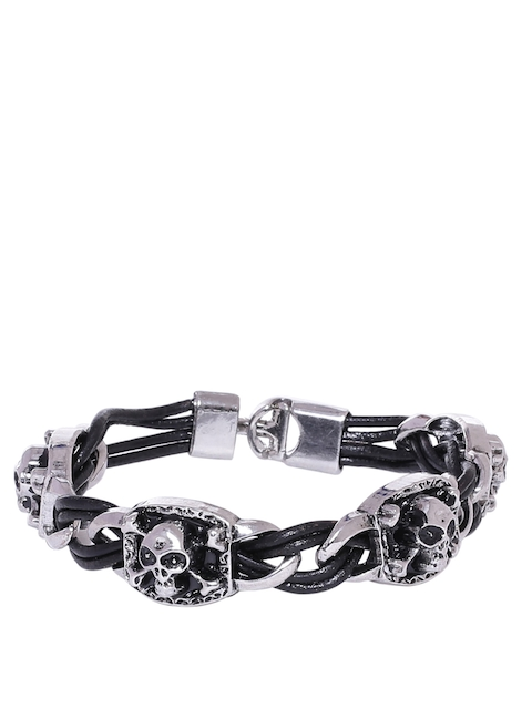 Dare by Voylla Men Silver-Plated Skull-Shaped Leather Bracelet